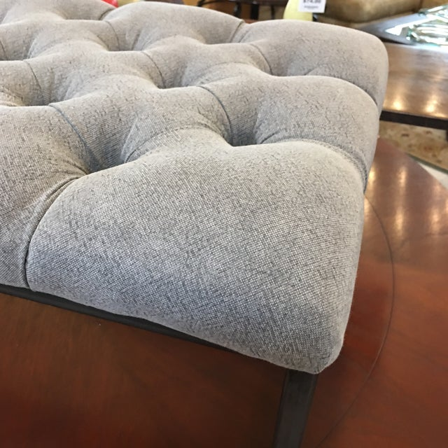 Fabric & Metal Gray Button Tufted Bench - Image 4 of 9