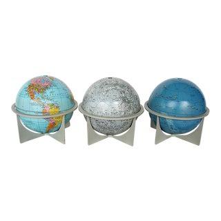 Vintage Moon Celestial Earth Globes- Set of 3 For Sale