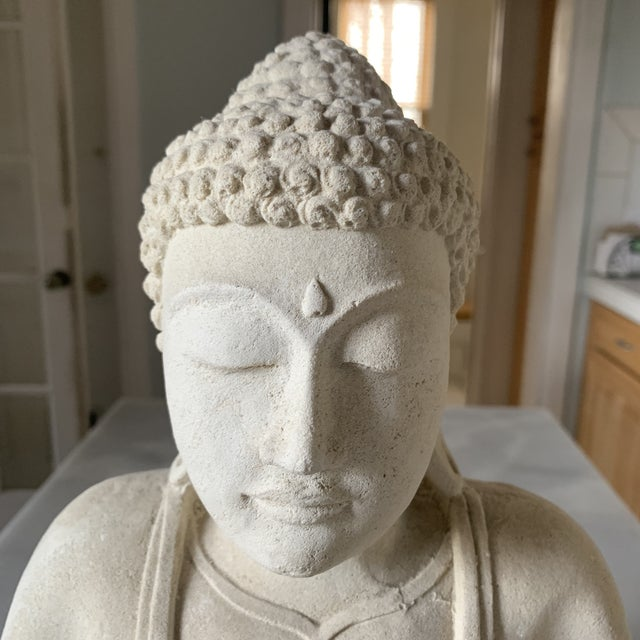 Large Stone and Plaster Cast Buddha For Sale - Image 4 of 13