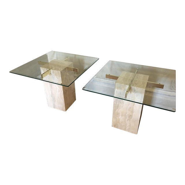 Mid-Century Travertine Side Tables - A Pair - Image 1 of 10