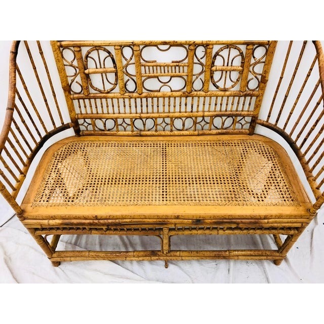 Vintage Scorched Bamboo & Cane Settee For Sale In Raleigh - Image 6 of 13