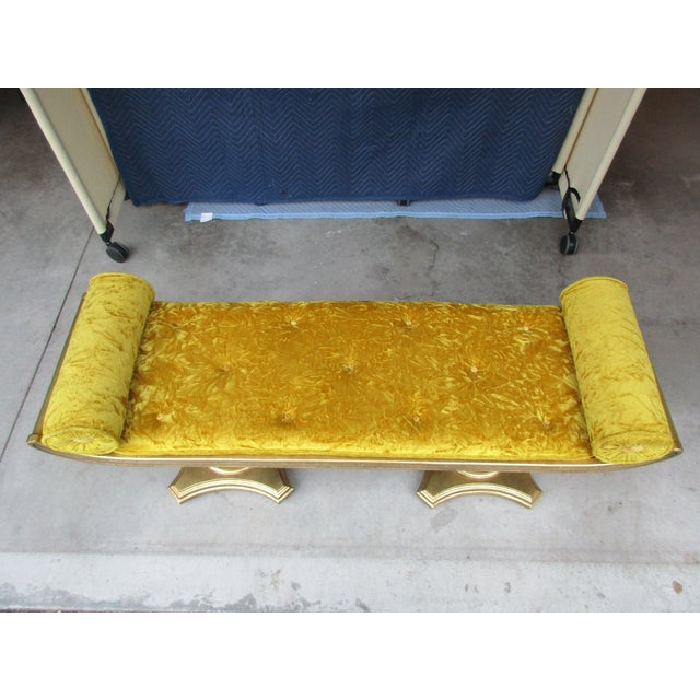 Yellow Mohair Gilt Wood Window Bench With Gondola Style Upturned Arms For Sale - Image 9 of 13