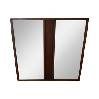 Lane Mid Century Modern Walnut Tuxedo Double Wall Mirror For Sale