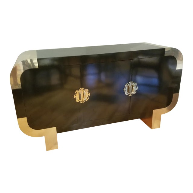 1980's Steve Chase Asian Credenza Brass and Gloss Black Laminate Over Hardwood. For Sale