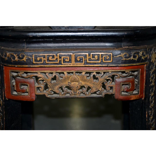 19th Century Chinese Carved & Painted Side Chair For Sale - Image 9 of 13