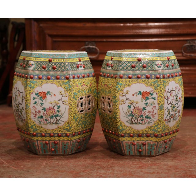 Mid 20th Century Mid-20th Century Chinese Porcelain Garden Stools With Floral and Foliage - a Pair For Sale - Image 5 of 9