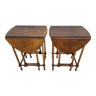 Vintage Baker Furniture Drop Leaf Gateleg Burled Walnut Tables - A Pair For Sale