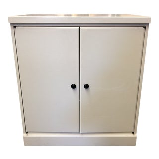 Outlook Two Door Cabinet Side Table in White For Sale