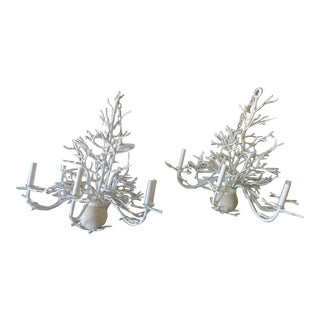 Curry & Company Faux Coral Chandelier - A Pair For Sale