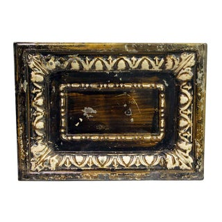 Antique Brown Cove Rectangle Tin Panel For Sale