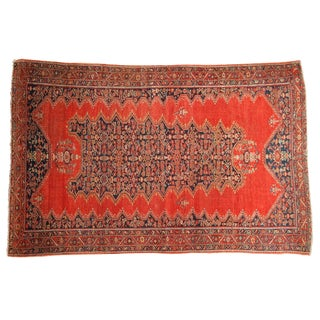 "Antique Tomato Red Malayer Rug - 3'11"" X 6'4"" For Sale"