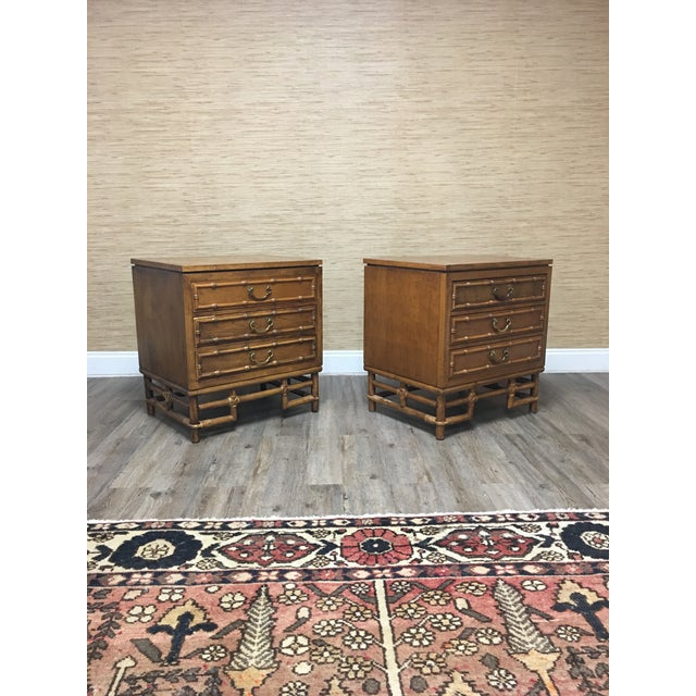 1960s Ficks Reed Faux Bamboo Nightstands-A Pair - Solid Hardwood Construction For Sale - Image 5 of 9