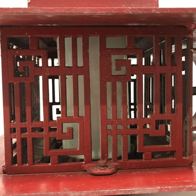 Metal Outdoor Pagoda Asian Sconce Light Fixtures Chinesse Lattice Pattern For Sale - Image 10 of 11