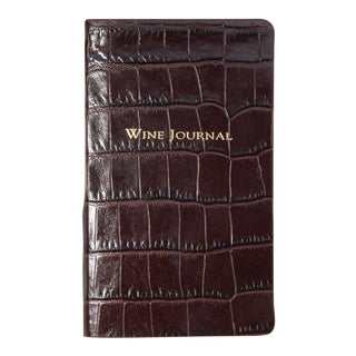 Pocket Wine Journal, Embossed Croc Leather in Brown For Sale
