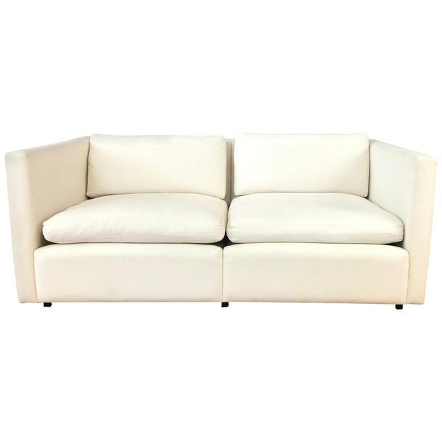 Charles Pfister for Knoll Settee in Off-White Canvas For Sale - Image 13 of 13