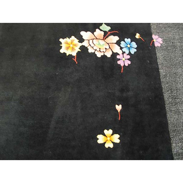 "Antique Chinese rug black background 8'0"" x 10'0"""