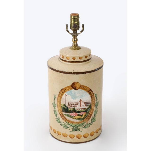 Tea caddy lamp with hand painted hotel landscape design. Sea shells with green leave adding the accent to the lamp.