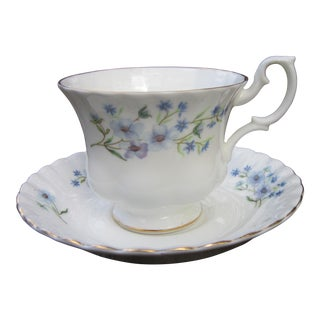 Forget Me Not Tea Cup & Saucer - Richmond Bone China Blue Rock - a Pair For Sale