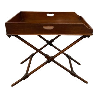 19th Century Folding Walnut Serving Tray Table For Sale