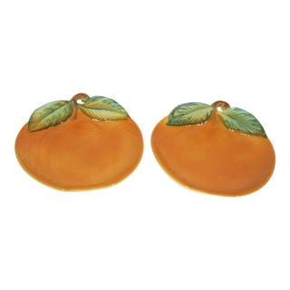 Vintage Mid Century Hand Painted Ancora Ceramic Orange Bowls- Set of 2 For Sale