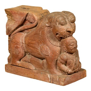 Indian 18th Century Teak Guardian Lion Carving with Traces of Original Paint For Sale