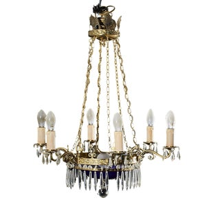 Blue Crystal Glass Gustavian Antique Chandelier with Blue Glass Bowl For Sale