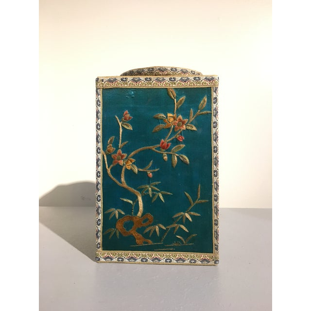 Asian Chinoiserie Silk Embroidered Tea Caddy, circa 1920's For Sale - Image 3 of 9