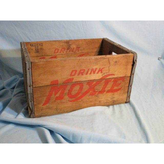 Vintage Moxie Drink wood crate. The wood crate is made by Treen Box Philadelphia, 4-56. The sides, both inside and...