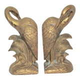 Image of Mid-Century Solid Brass Crane Bookends - a Pair For Sale