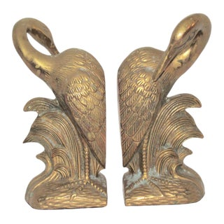Mid-Century Solid Brass Crane Bookends - a Pair For Sale