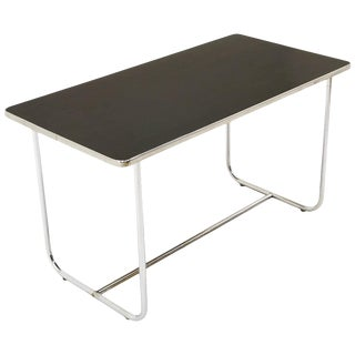 Dining / Work Table by Wolfgang Hoffmann, Tubular Chrome and Black Laminate For Sale