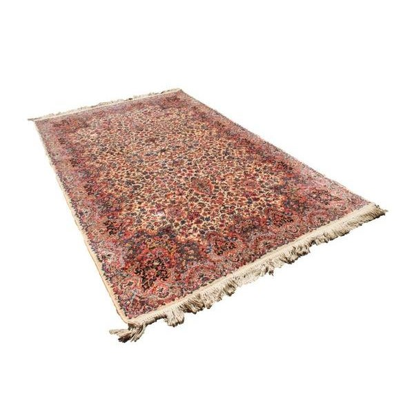 "Antique Karastan Kirman Wool Rug - 5′8″ x 9′7"" - Image 1 of 5"