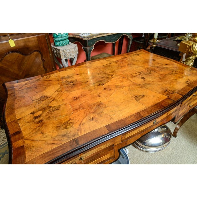 Wood 1900s Italian Olive Wood Writing Desk / Console For Sale - Image 7 of 8