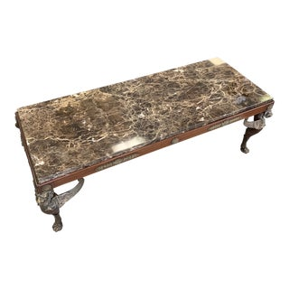 Late 19th Century Antique French Empire Style Marble Coffee Table For Sale