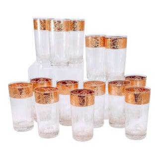 Vintage Culver Starlyte Gold Rim Ribbed Crystal Glasses - Set of 14 For Sale