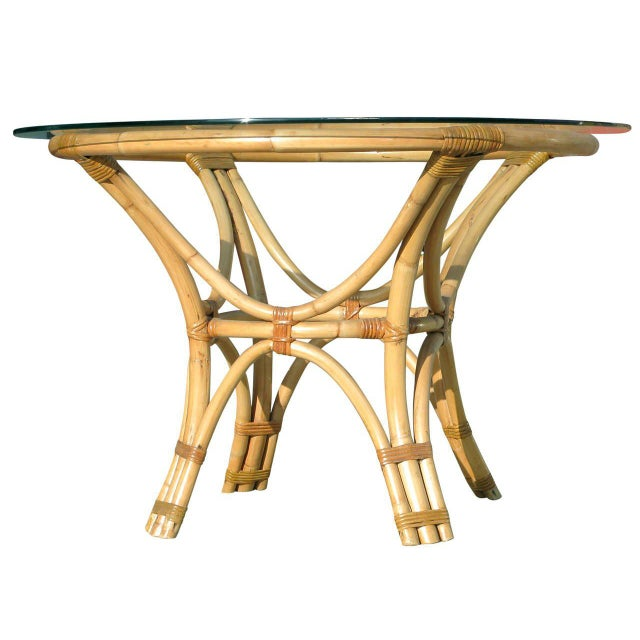 Bamboo Restored Rattan Bentwood Dining Table with Round Glass Top For Sale - Image 7 of 7