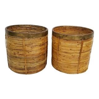 1990s Vintage Decorative Brass and Rattan Baskets- A Pair For Sale