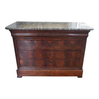 19th Century Louis Philippe Mahogany Chest of Drawers / Commode With Marble Top For Sale