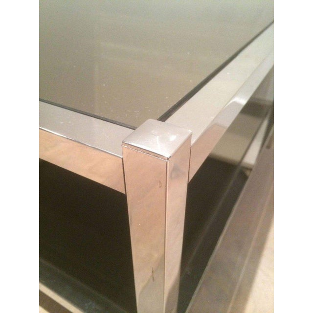 Pair of Large Chrome Side Tables with Bronzed Mirrors - Image 6 of 11