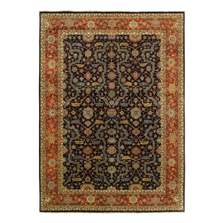 Pasargad Navy Blue Persain Hand Knotted Serapi Design Rug 9' X 12 For Sale