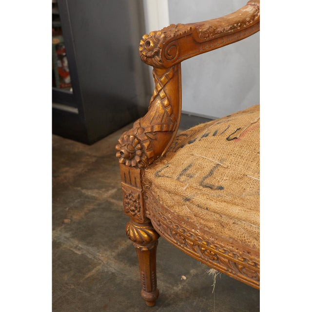 Mid 20th Century Pair Louis XVI Style Armchairs For Sale - Image 5 of 8