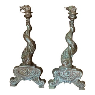 Early 19th Century Antique Bronze Andirons Chenet- a Pair For Sale