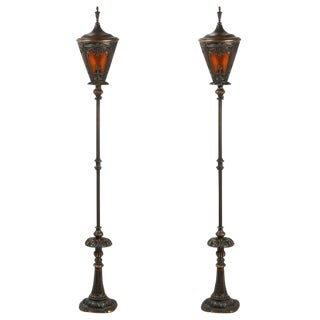 American Cast Iron and Brass Floor Lamps - a Pair For Sale