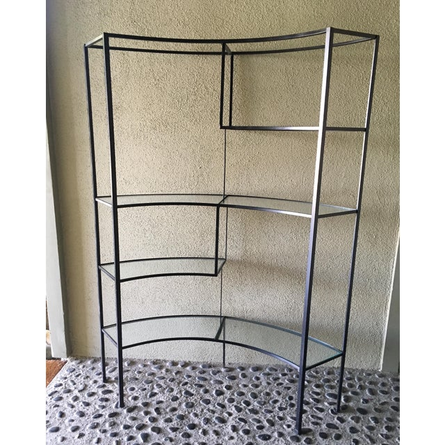 Mid-Century Modern Frederic Weinberg Clear Glass Wrought Iron Shelf For Sale - Image 3 of 11