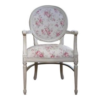 French Country, Cottage, Louis XVI Fauteuil Accent Chair For Sale