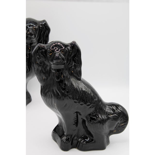 English Large English Staffordshire Dogs Jackfield King Charles Spaniels - a Pair For Sale - Image 3 of 13