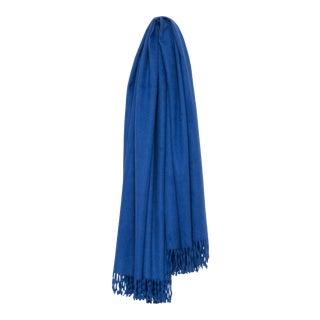 Arran Plain Cashmere Throw, Blue For Sale