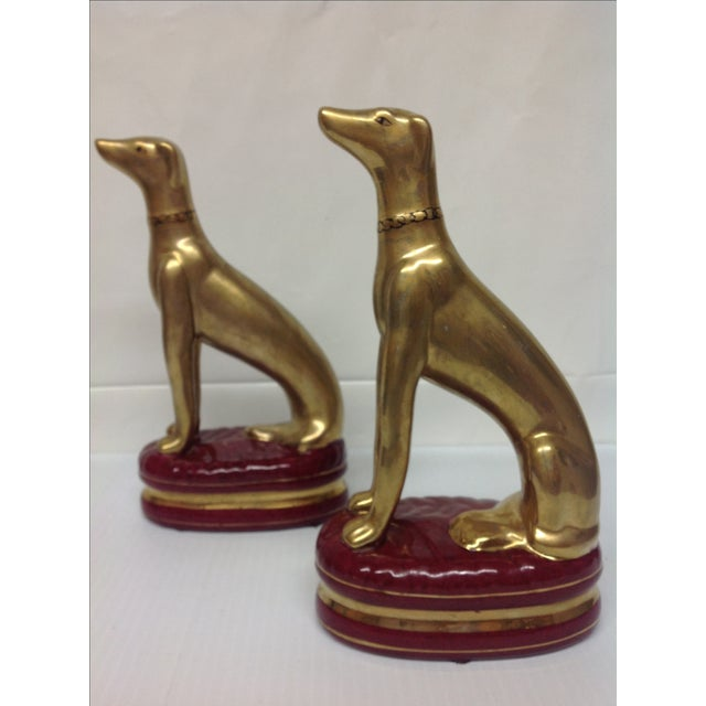 Hollywood Regency Porcelain Whippet Statues - Pair - Image 2 of 6