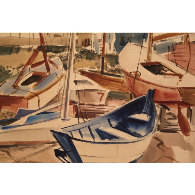 Mid-Century English Boat Oil on Board Painting Signed JC Wright For Sale In Dallas - Image 6 of 8