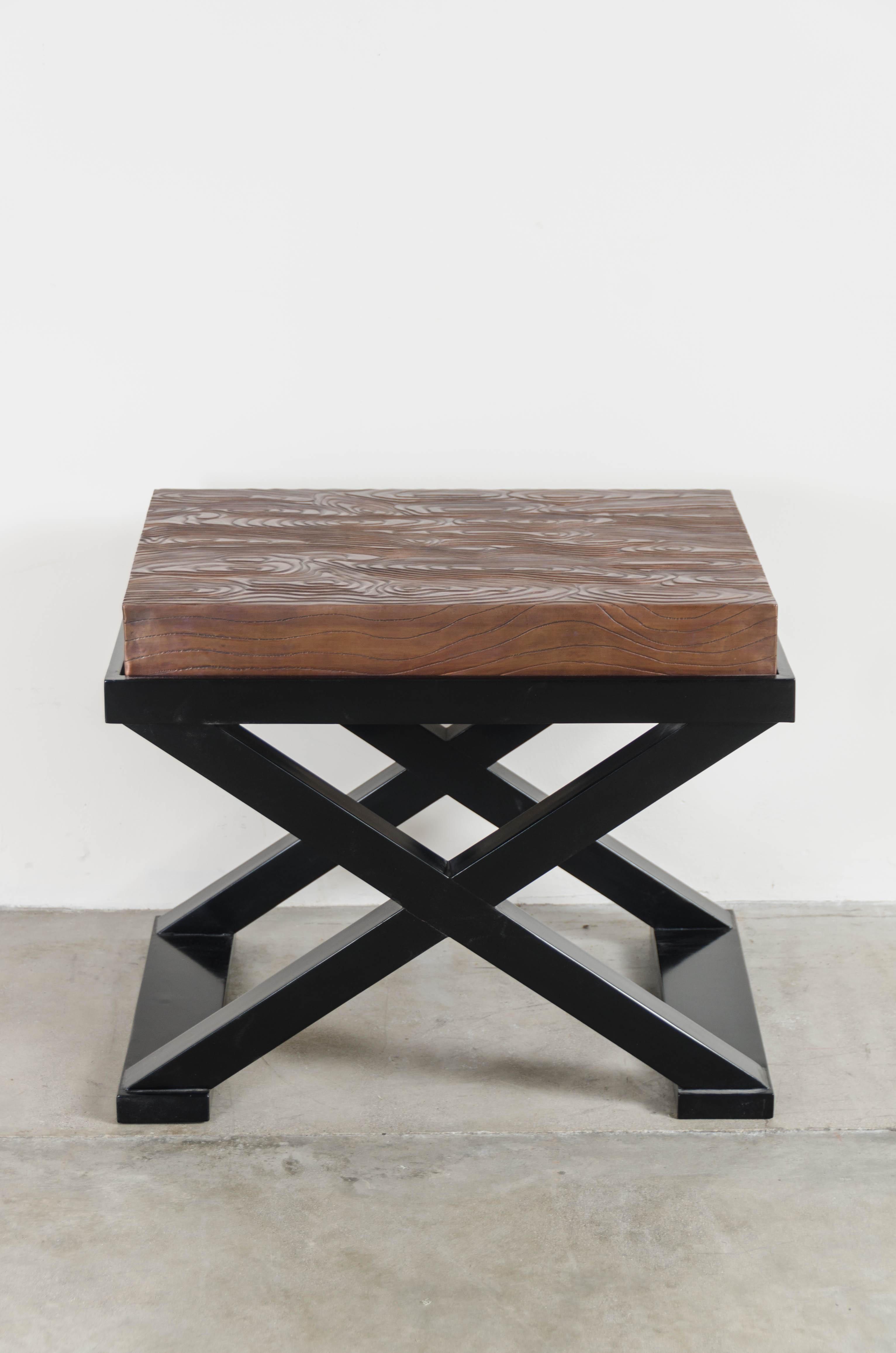 Wood Grain Design Top W/ Cross Leg Table By Robert Kuo, Hand Repoussé,  Limited Edition